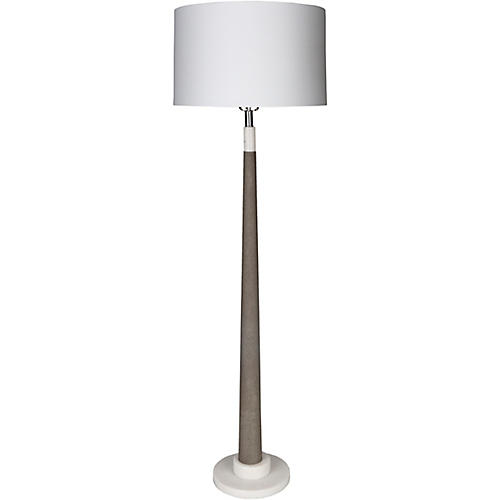 Vassey Marble Floor Lamp, White/Gray