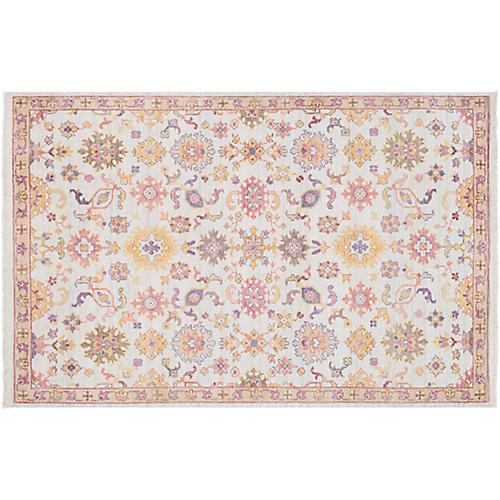Urdin Hand-Knotted Rug, Ivory/Pink