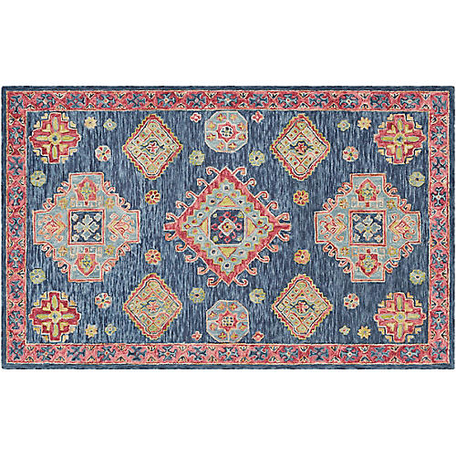 Vogt Kids' Rug, Navy/Multi