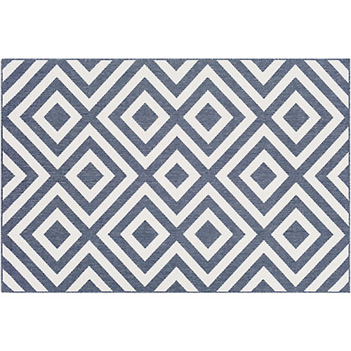 Ashley Outdoor Rug, Charcoal/White