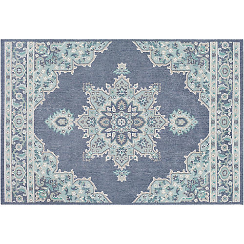 Embiid Outdoor Rug, Aqua/Teal