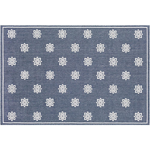 Daisy Outdoor Rug, Charcoal/White