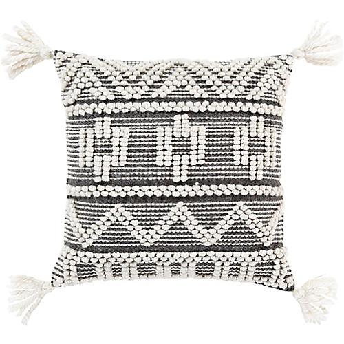 Achak 18x18 Pillow, Black/Cream