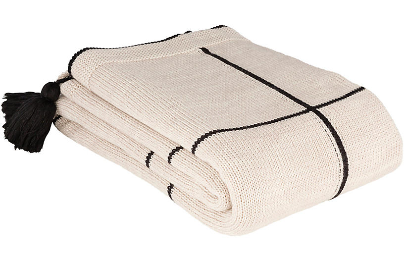 Graficar Cotton Throw, Black