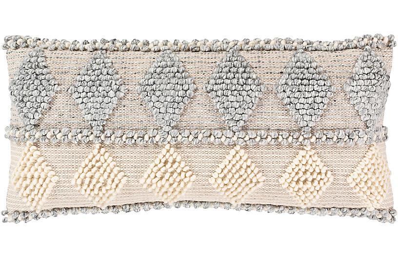 Wiyot 14x32 Lumbar Pillow, Light Gray/Khaki