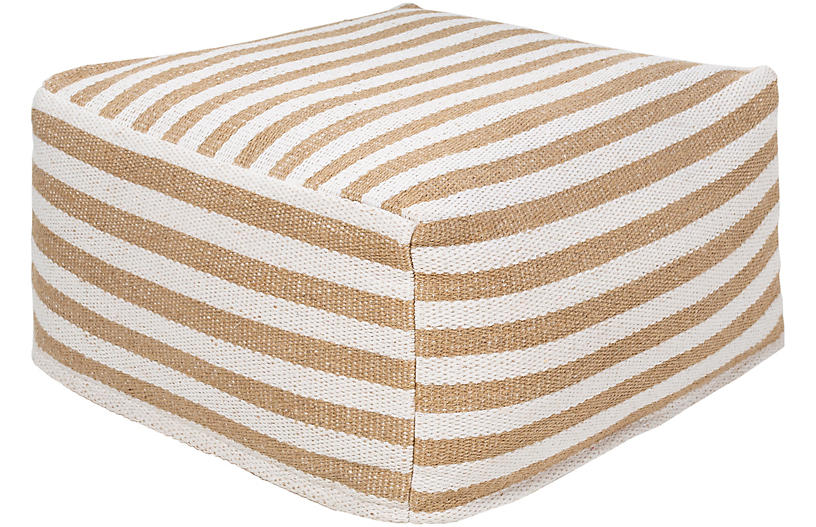 Leal Pouf, White/Camel Stripe
