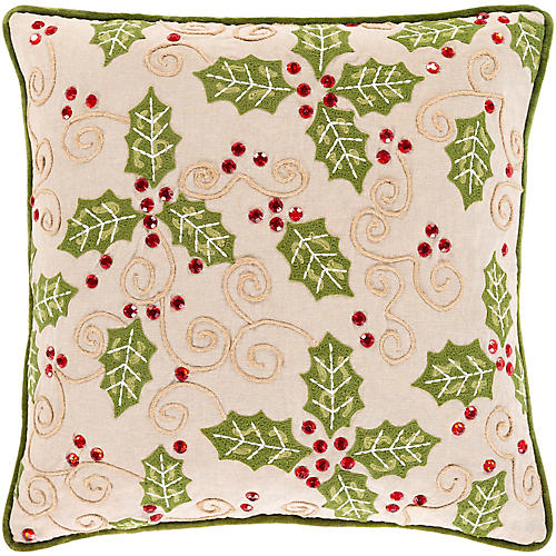 Holly Berry 20x20 Pillow, Green