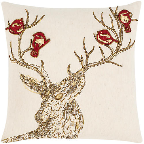 Antler 20x20 Pillow, Gold