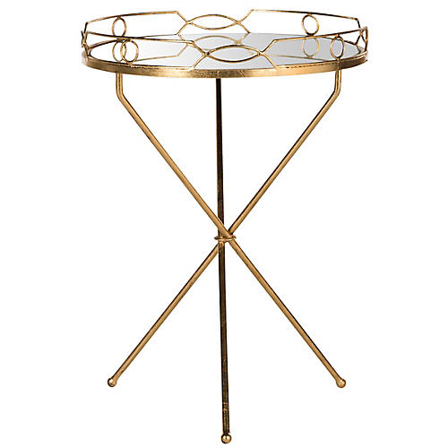 Harvey Mirrored Side Table, Gold