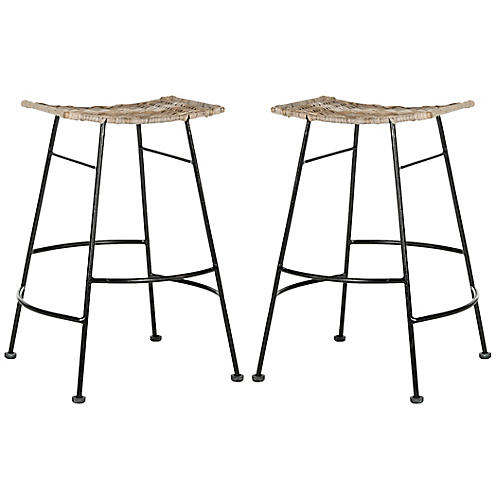 S/2 Julia Counter Stools, Natural/Black