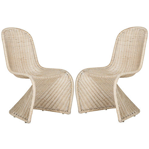 S/2 Tana Side Chairs, Whitewash