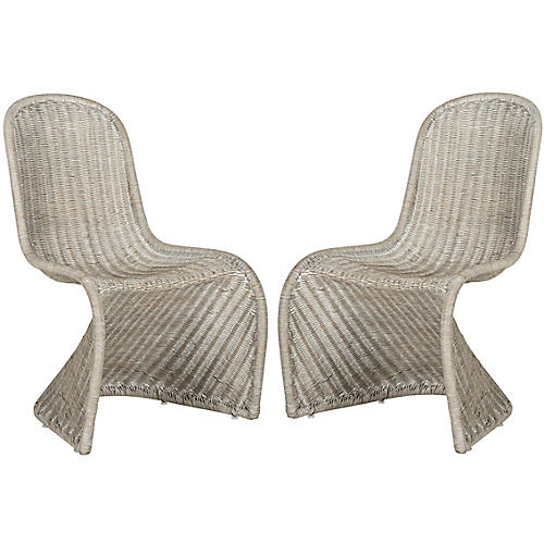 S/2 Tana Wicker Side Chairs, Antiqued Gray
