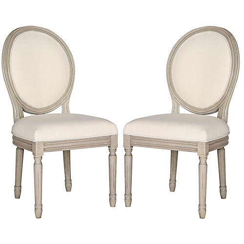 S/2 Hunter Side Chairs, Washed Beige