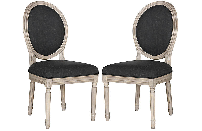 S/2 Haden Side Chairs, Charcoal Linen