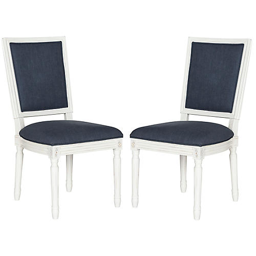 S/2 Lucy Side Chairs, Navy Linen