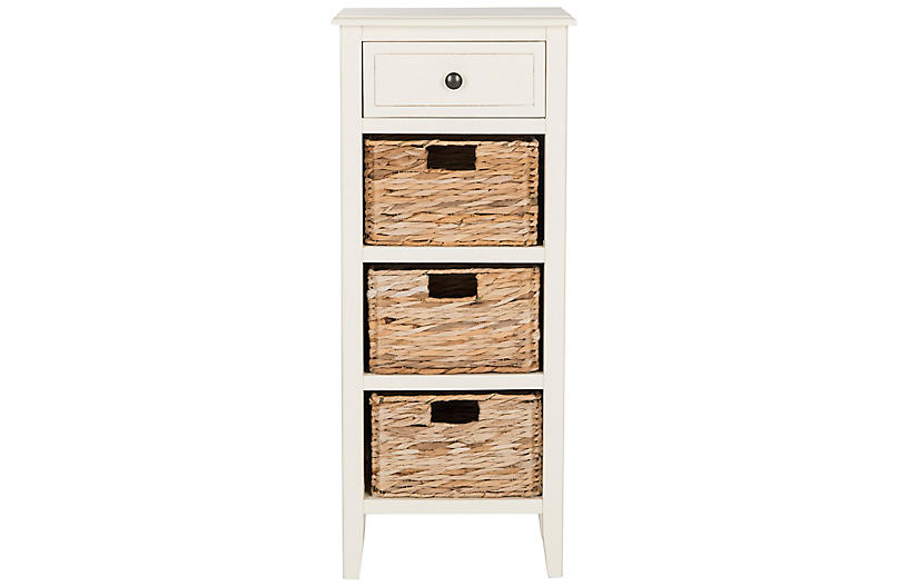 Michaela Side Table, Distressed White