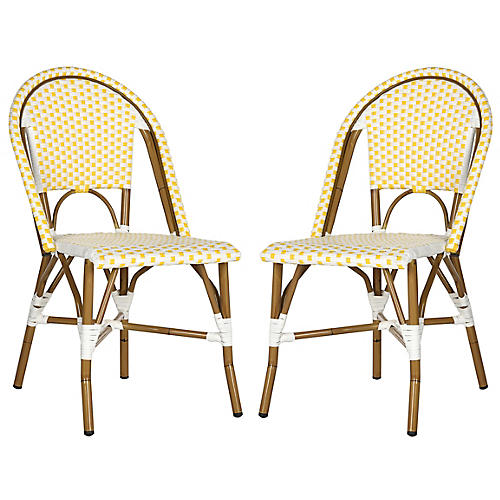 Yellow Sasha Bistro Side Chair, Pair