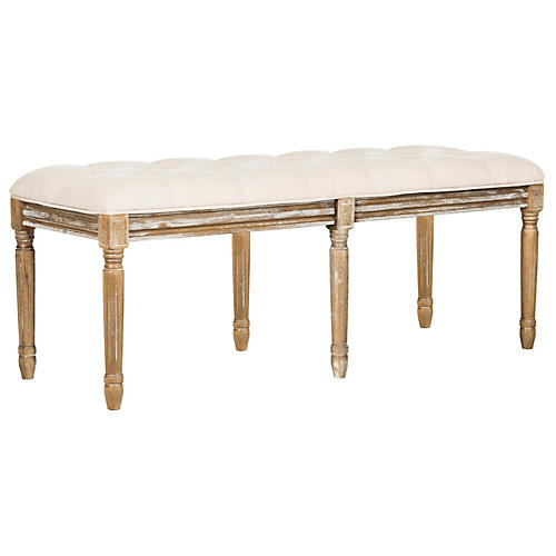 Rocha Tufted Bench, Beige Linen