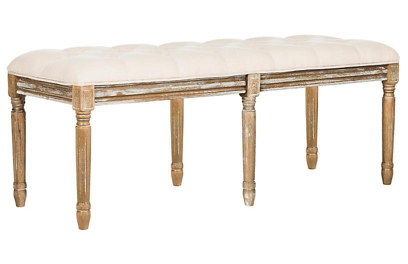 Rocha Tufted Bench, Beige Linen