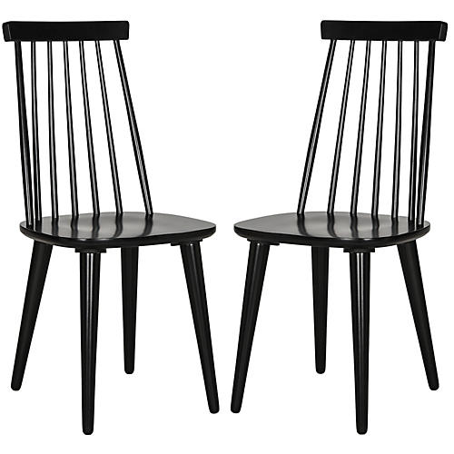 S/2 Flynn Side Chairs, Black