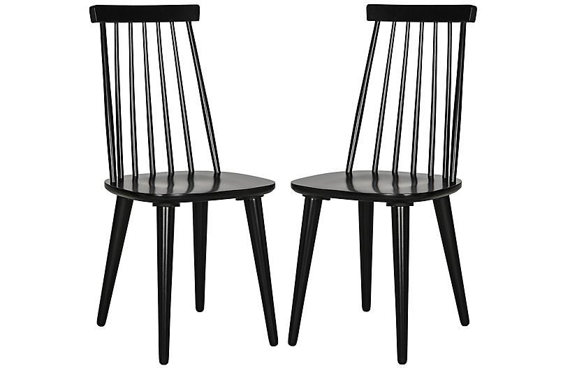 S/2 Flynn Side Chairs, Black