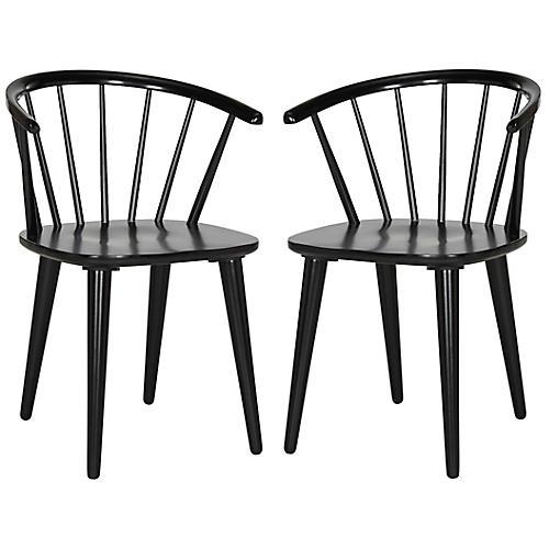 S/2 Kathryn Side Chairs, Black