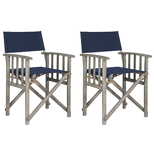 S/2 Exito Outdoor Director's Chairs, Navy