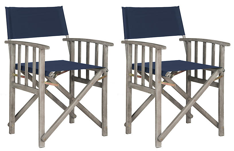 S/2 Miles Outdoor Director's Chairs, Navy/Gray