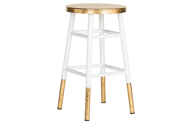 Lacie Counter Stool, White/Gold