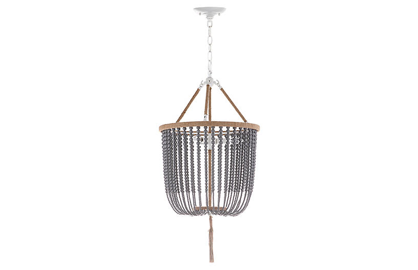 Mila Beaded 3-Light Pendant, Gray