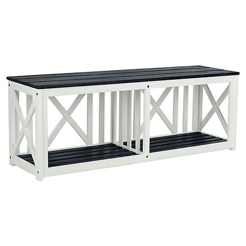 Brewer Bench, Slate Gray/White