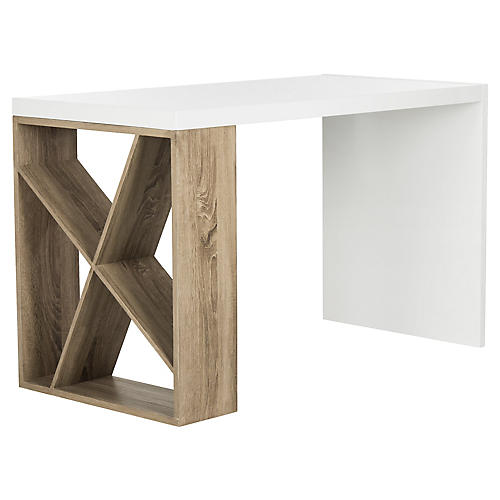 Carlene Desk, White/Oak