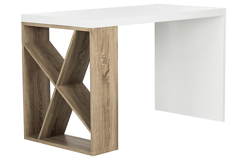 Carlene Desk, White/Oak