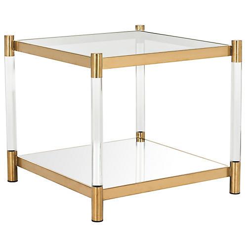 Shane Side Table, Brass/Acrylic