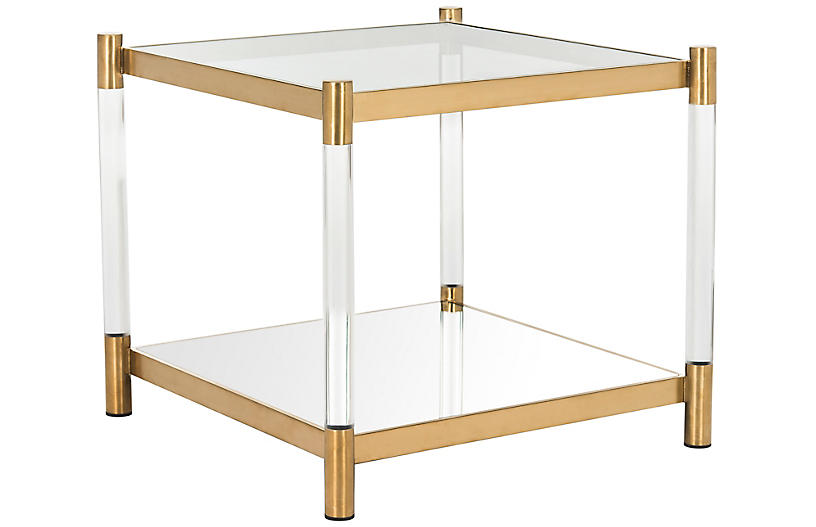 Shane Side Table, Brass/Acrylic