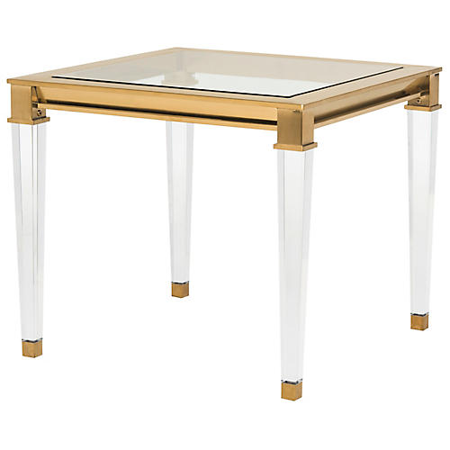 Charleston Acrylic Side Table, Brass