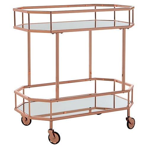 Cava Bar Cart, Rose Gold