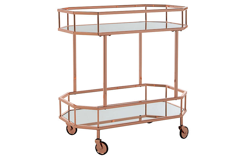 Cava Bar Cart, Rose Gold