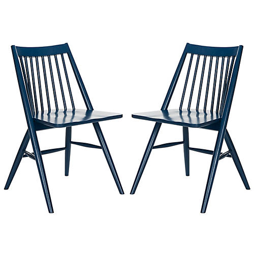 S/2 Bledsoe Side Chairs, Navy