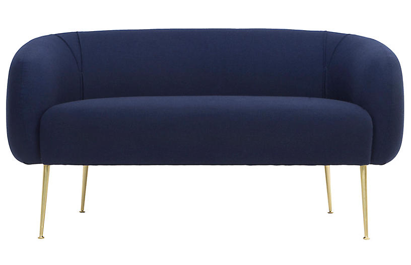 Alena Loveseat, Navy/Gold