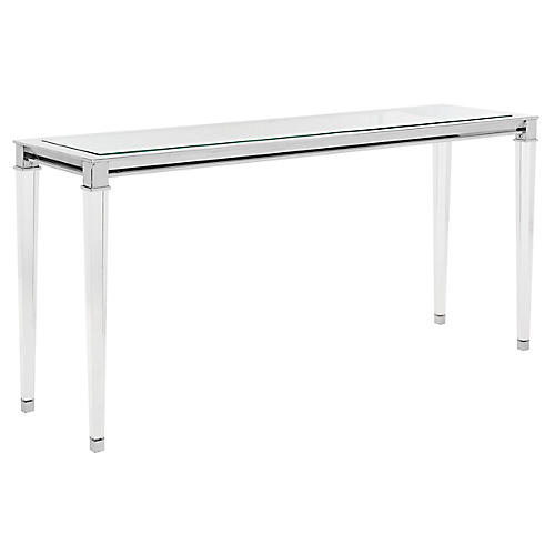 Charleston Console, Polished Silver