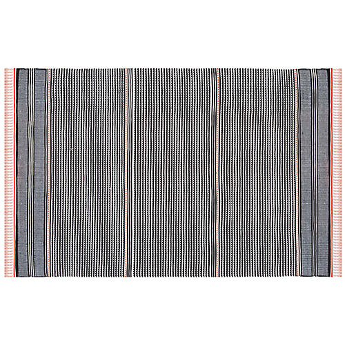 West Flat-Weave Rug, Orange/Multi