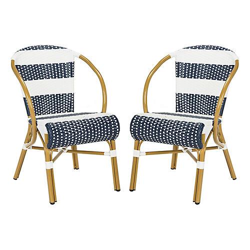 S/2 Aiyana Stacking Armchairs, Navy/White