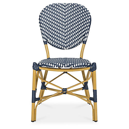S/2 Ariel Stacking Side Chairs, Navy/White