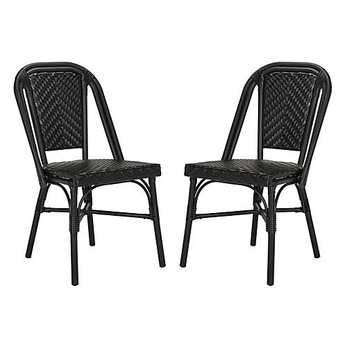 S/2 Aliza Stacking Side Chairs, Black
