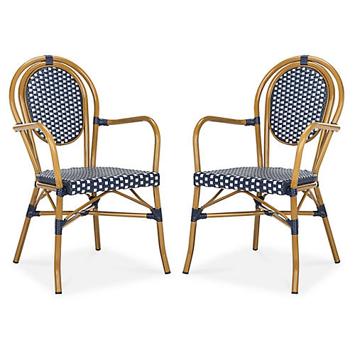 S/2 Sierra Stacking Armchairs, Navy/White