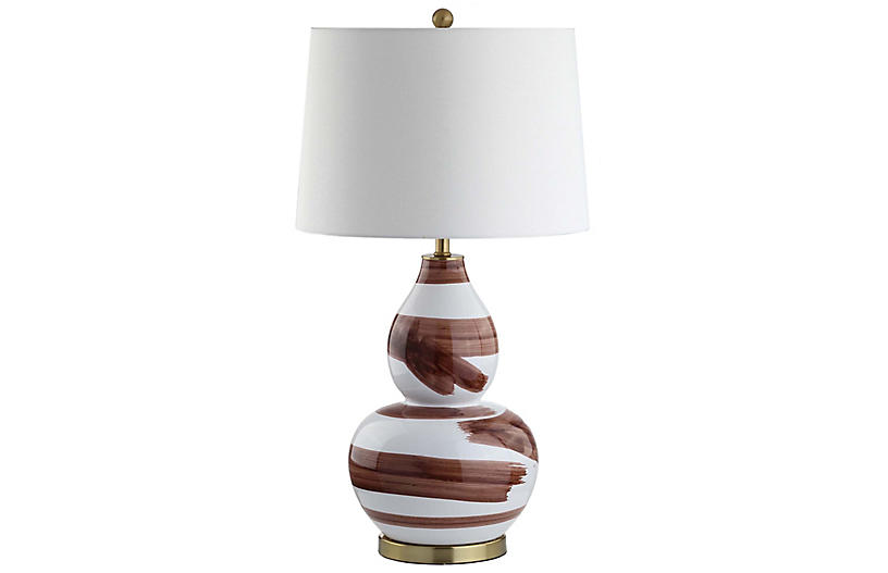 Riley Table Lamp, Brown/White