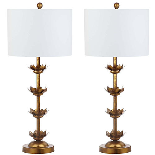 S/2 Nolden Table Lamps, Antiqued Gold Leaf