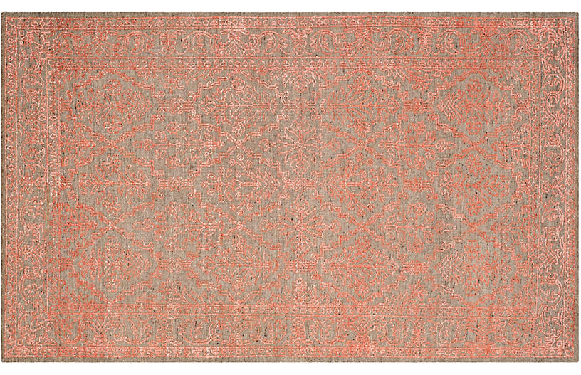 Logue Hand-Knotted Rug, Dark Beige/Coral