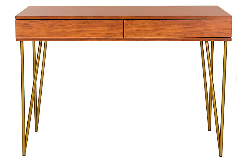 Banks Desk, Natural/Gold